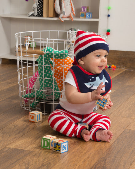 Red and Navy Stripe Knotted Baby Hat Hat Izzy & Owie - GigglesGear.com