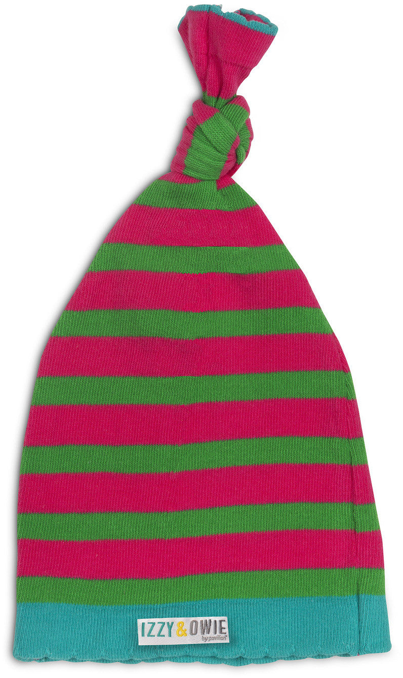 Pink and Green Stripe Hat Baby Hat Izzy & Owie - GigglesGear.com