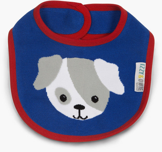 Red and Blue Puppy Baby Bib Baby Bib Izzy & Owie - GigglesGear.com