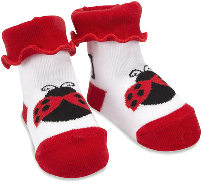 Red and Black Ladybug - 0-12 Socks