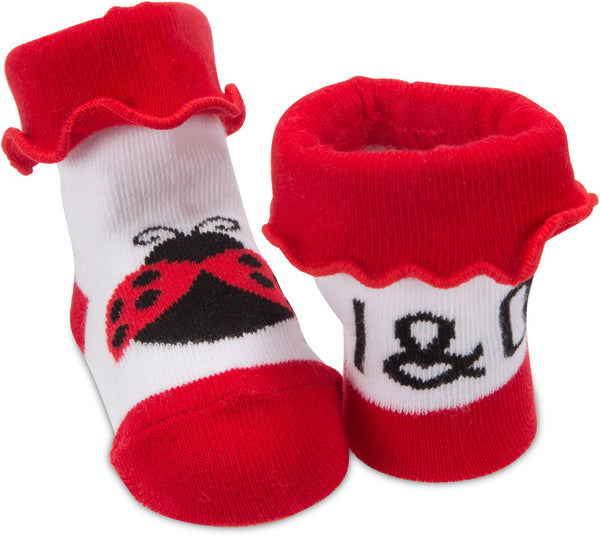 Red and Black Ladybug - 0-12 Socks Baby Socks Izzy & Owie - GigglesGear.com