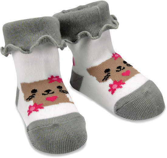 Pink and Gray Kitty Socks Baby Socks Izzy & Owie - GigglesGear.com