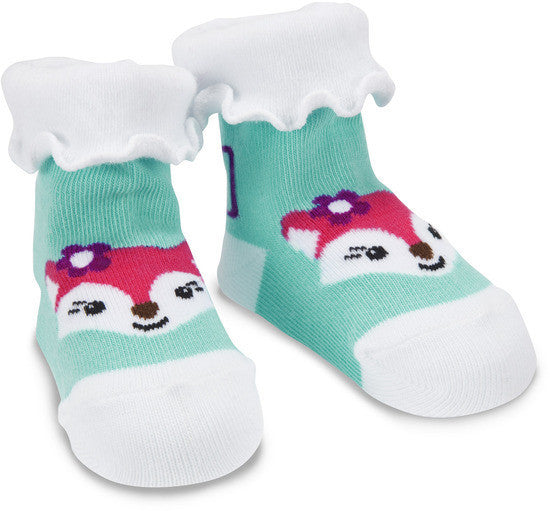 Aqua and White Fox Baby Socks 0-12M