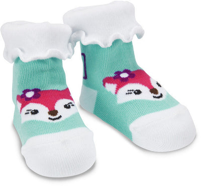 Aqua and White Fox Baby Socks
