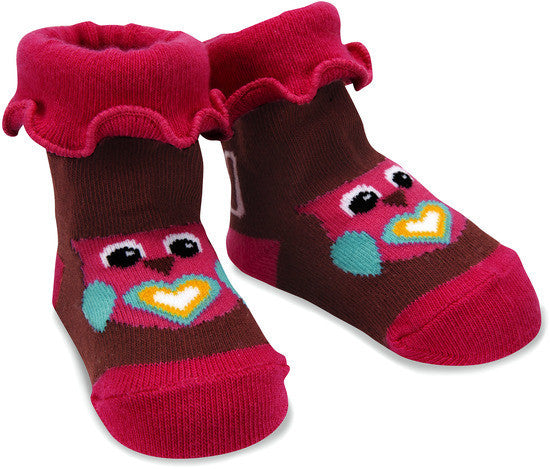 Pink and Brown Owl Baby Socks 0-12 M Baby Socks Izzy & Owie - GigglesGear.com