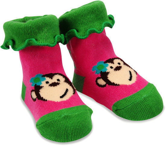 Pink and Green Monkey Baby Socks 0-12M Socks Izzy & Owie - GigglesGear.com