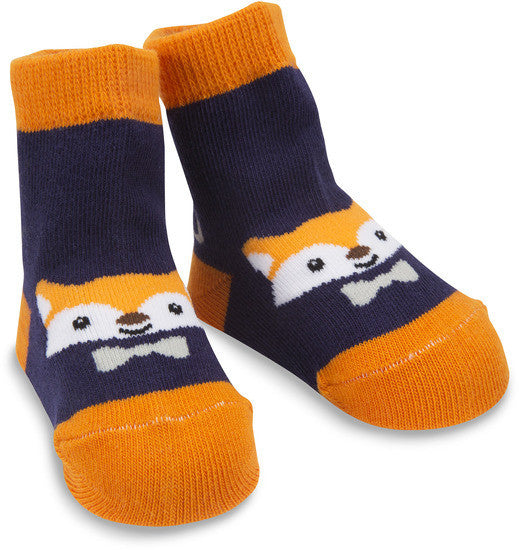 Orange and Navy Fox Socks Baby Socks Izzy & Owie - GigglesGear.com