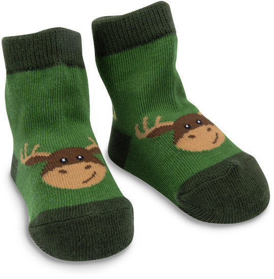 Forest Green Moose Socks Baby Socks Izzy & Owie - GigglesGear.com