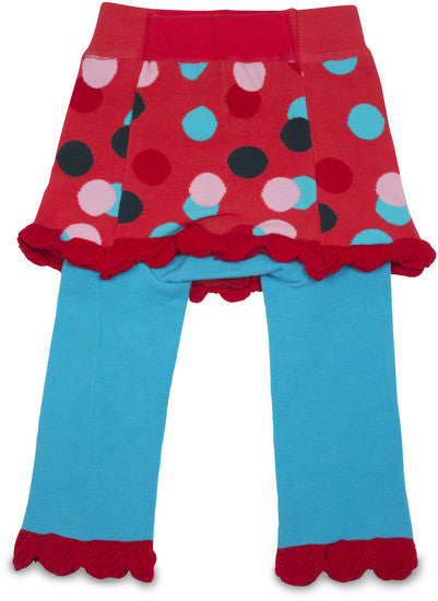Coral and Blue Skirted Polka Dot Baby Leggings Leggings Izzy & Owie - GigglesGear.com