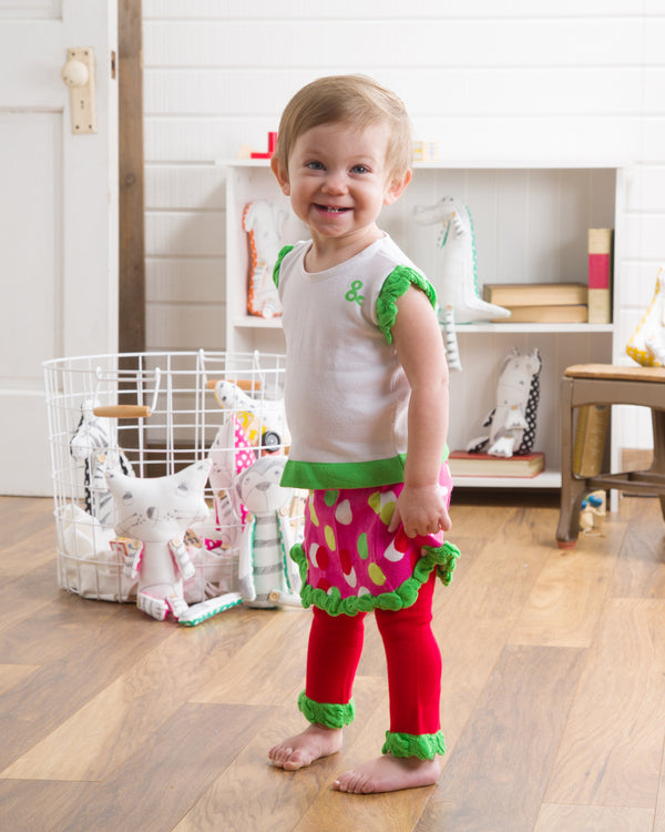 Lime Green and Pink Skirted Polka Dot Baby Leggings Baby Leggings Izzy & Owie - GigglesGear.com