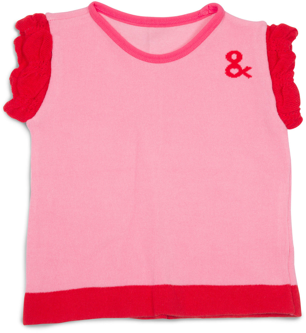 Pink and Coral Ruffled T-Shirt 12-24 Months Ruffled T-Shirt Izzy & Owie - GigglesGear.com