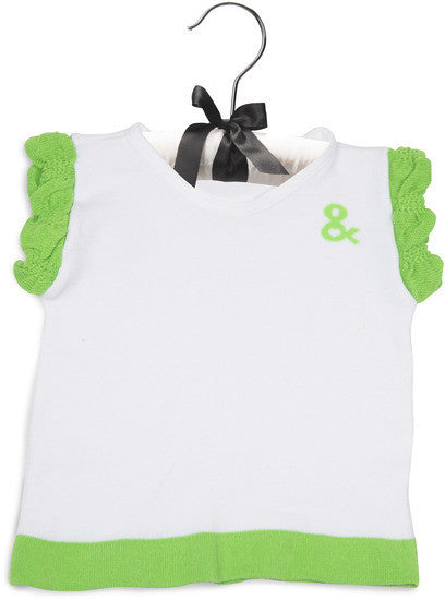 Lime Green and White Ruffled Baby T-Shirt 12-24 M