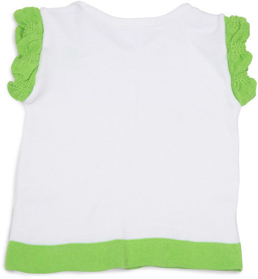 Lime Green and White Ruffled Baby T-Shirt 12-24 M Baby Shirt Izzy & Owie - GigglesGear.com