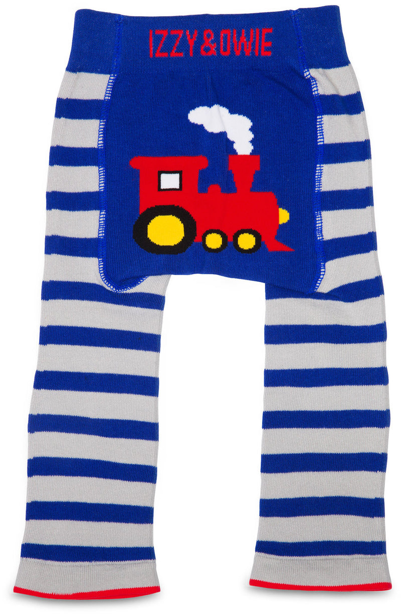 Red and Blue Train Leggings 12-24 Months Baby Leggings Izzy & Owie - GigglesGear.com