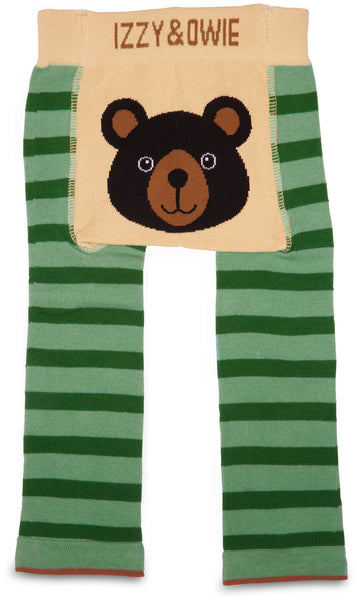 Green Striped Bear Leggings Baby Leggings Izzy & Owie - GigglesGear.com