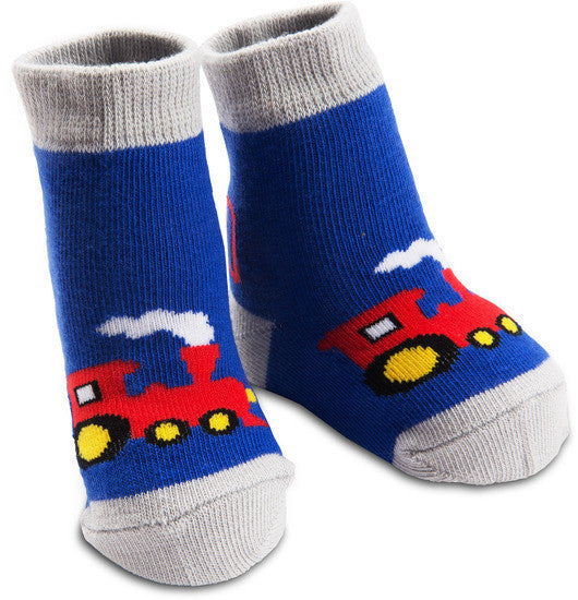 Red and Blue Train Socks Baby Socks Izzy & Owie - GigglesGear.com