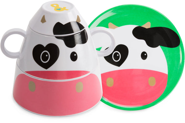 Cow 4 pc Stackable Dinner Set Stackable Dinner Set Izzy & Owie - GigglesGear.com