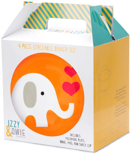 Elephant 4 pc Stackable Dinner Set Stackable Dinner Set Izzy & Owie - GigglesGear.com