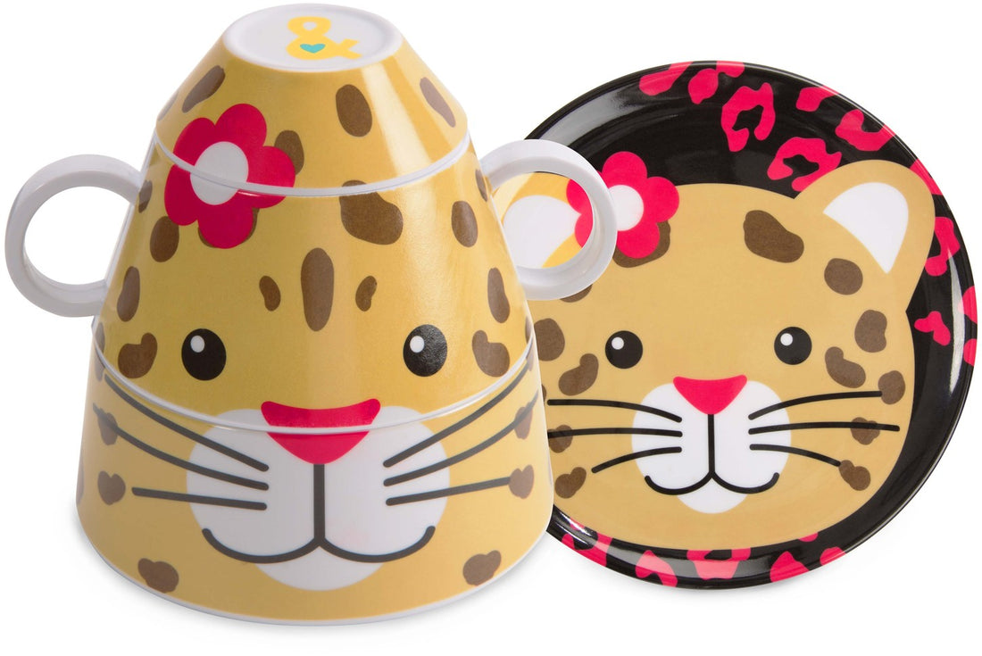 Jungle Cat 4 pc Stackable Dinner Set