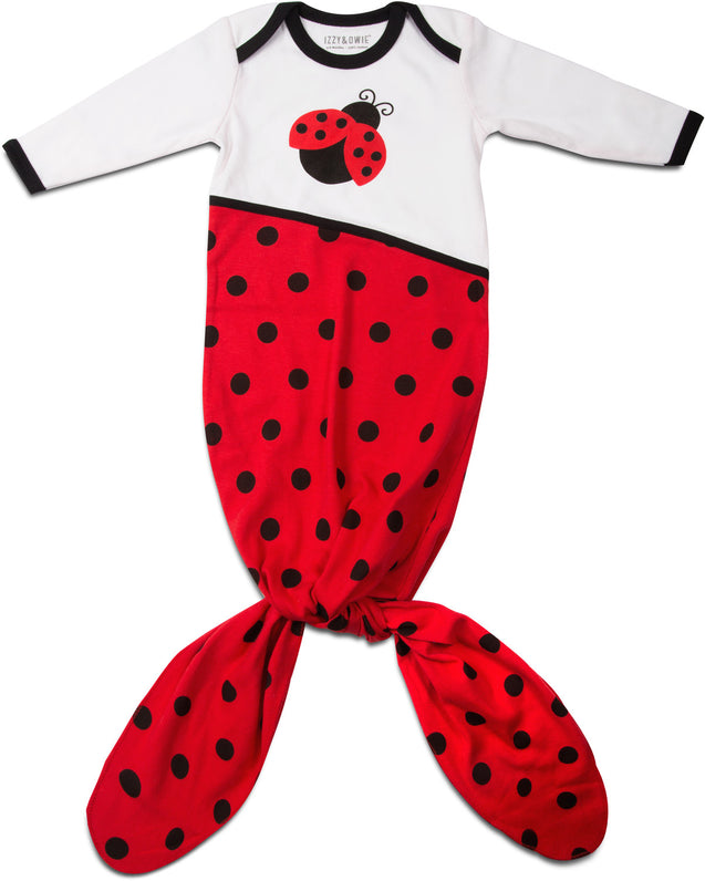Red and Black Ladybug Knotted Onesie 0-9 M Knotted Onesie Izzy & Owie - GigglesGear.com