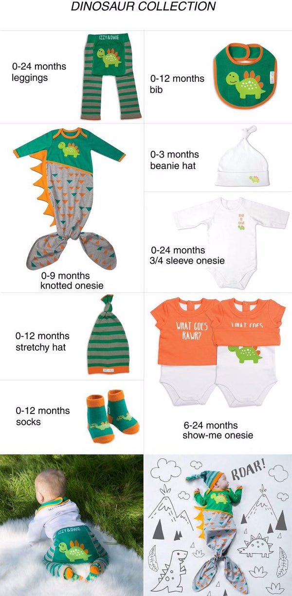 Teal and Gray Dino Knotted Baby Onesie 0-9 M Knotted Onesie Izzy & Owie - GigglesGear.com