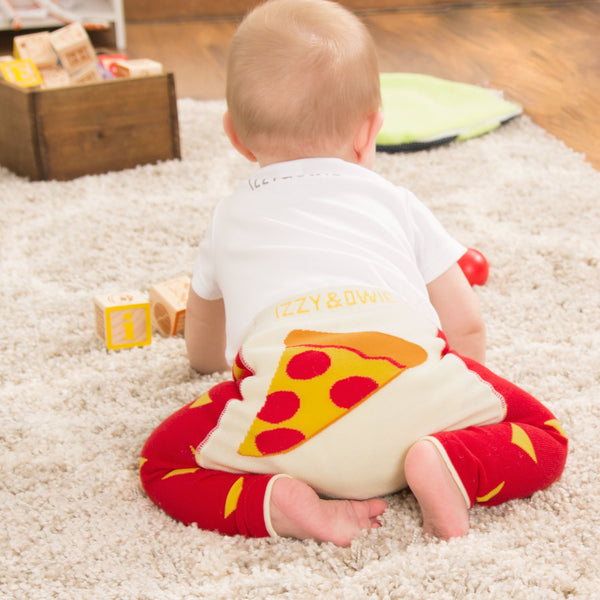 Red and Orange Pizza Baby Leggings Baby Leggings Izzy & Owie - GigglesGear.com