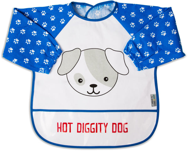 Red and Blue Puppy Hot Diggity Dog Baby Smock Smock Izzy & Owie - GigglesGear.com