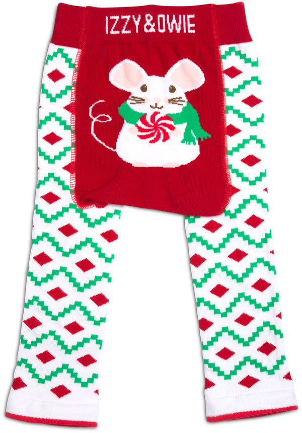 Red, White & Green Christmas Mouse Baby Leggings Baby Leggings Izzy & Owie - GigglesGear.com