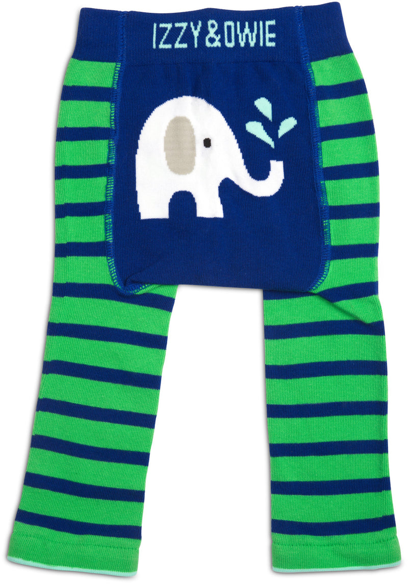 Blue & Green Elephant Baby Leggings Baby Leggings Izzy & Owie - GigglesGear.com