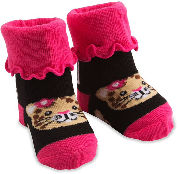 Pink Jungle Cat Baby Socks Baby Socks Izzy & Owie - GigglesGear.com