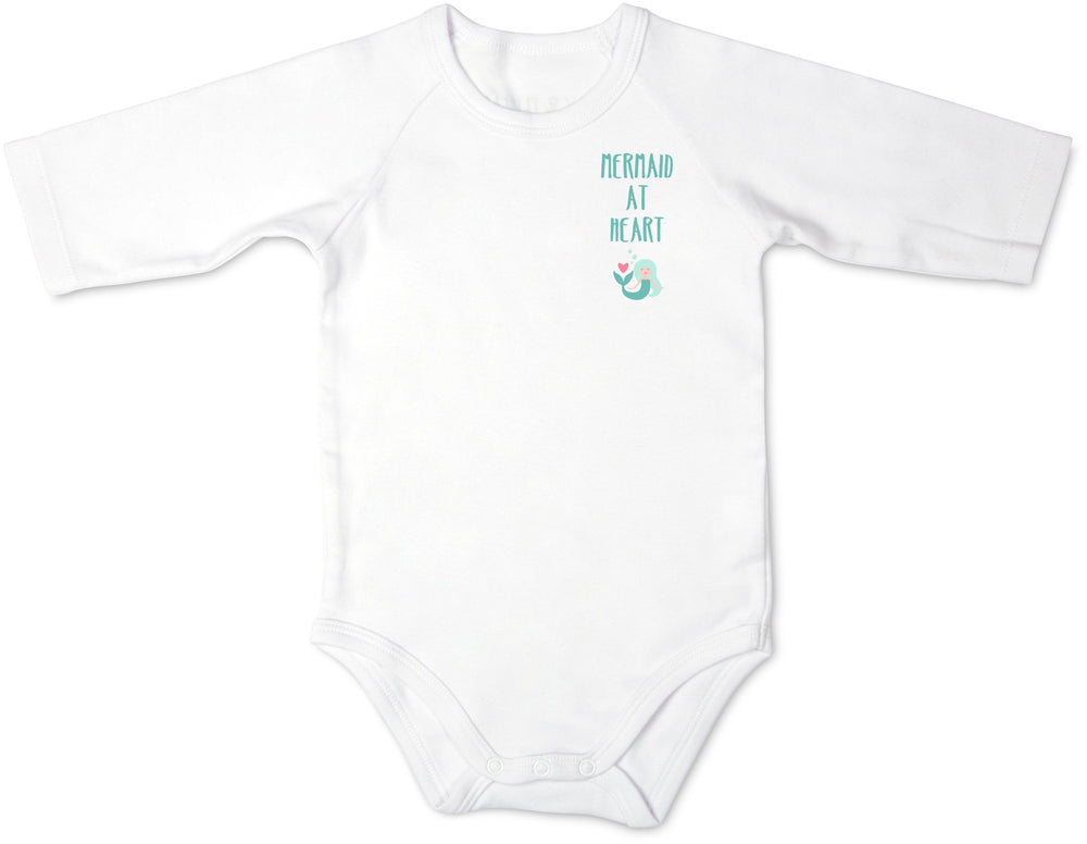 Mermaid at Heart 3/4 Sleeve Baby Onesie