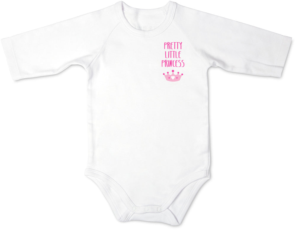 Pink Pretty Little Princess 3/4 Sleeve Baby Onesie