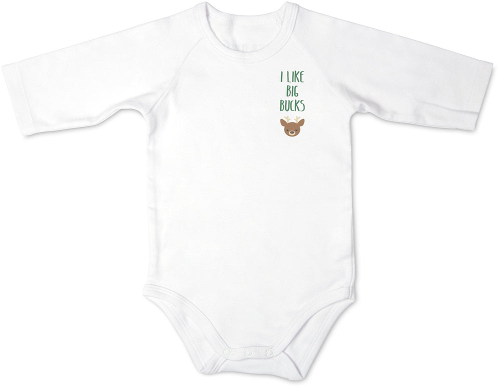 I Like Big Bucks Deer 3/4 Sleeve Baby Onesie