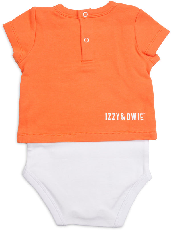 What Goes Rawr? Orange Dino Baby Shirt-Onesie Baby Onesie Izzy & Owie - GigglesGear.com