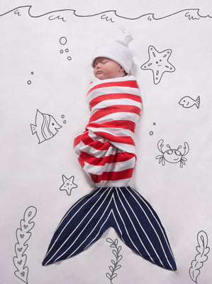 Red and Navy Shark Baby Swaddle Wrap