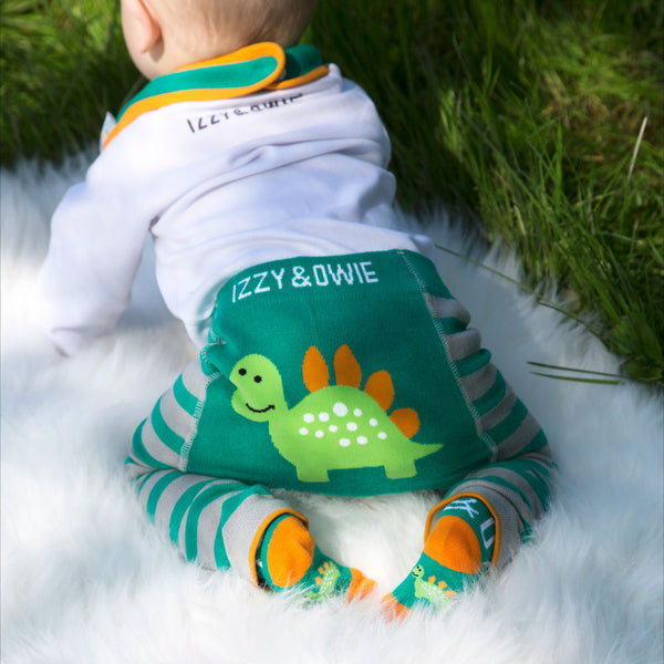 Aqua and Gray Dino Baby Leggings Baby Leggings Izzy & Owie - GigglesGear.com