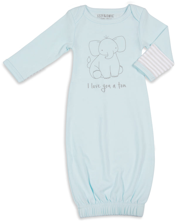 I love you a ton Sleeping Gown with Mitten Cuffs 0-3 M Sleeping Gown Izzy & Owie - GigglesGear.com