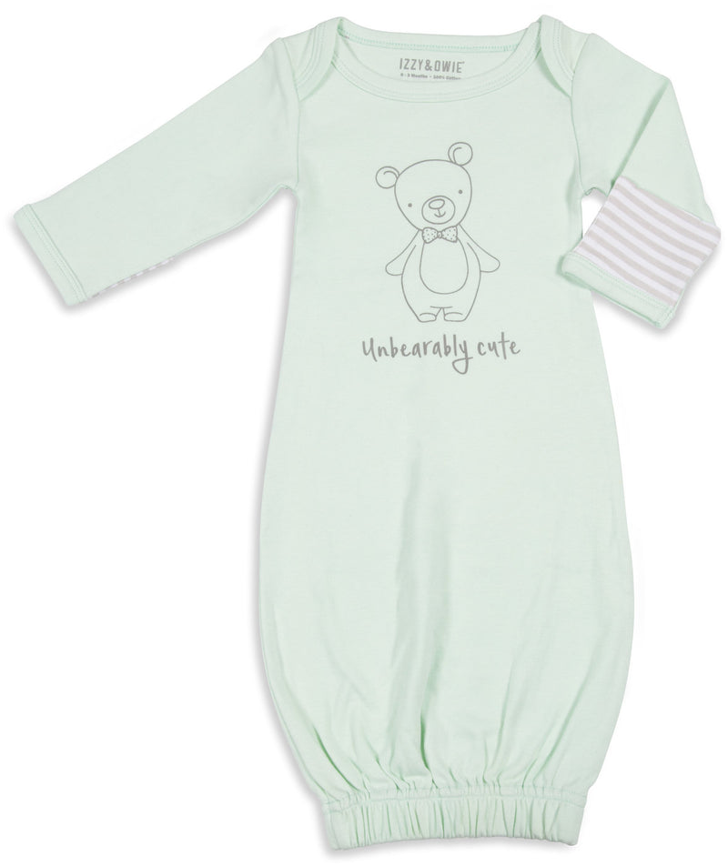 Unbearably Cute 0-3 Months Gown with Mitten Cuffs Baby Gown Izzy & Owie - GigglesGear.com