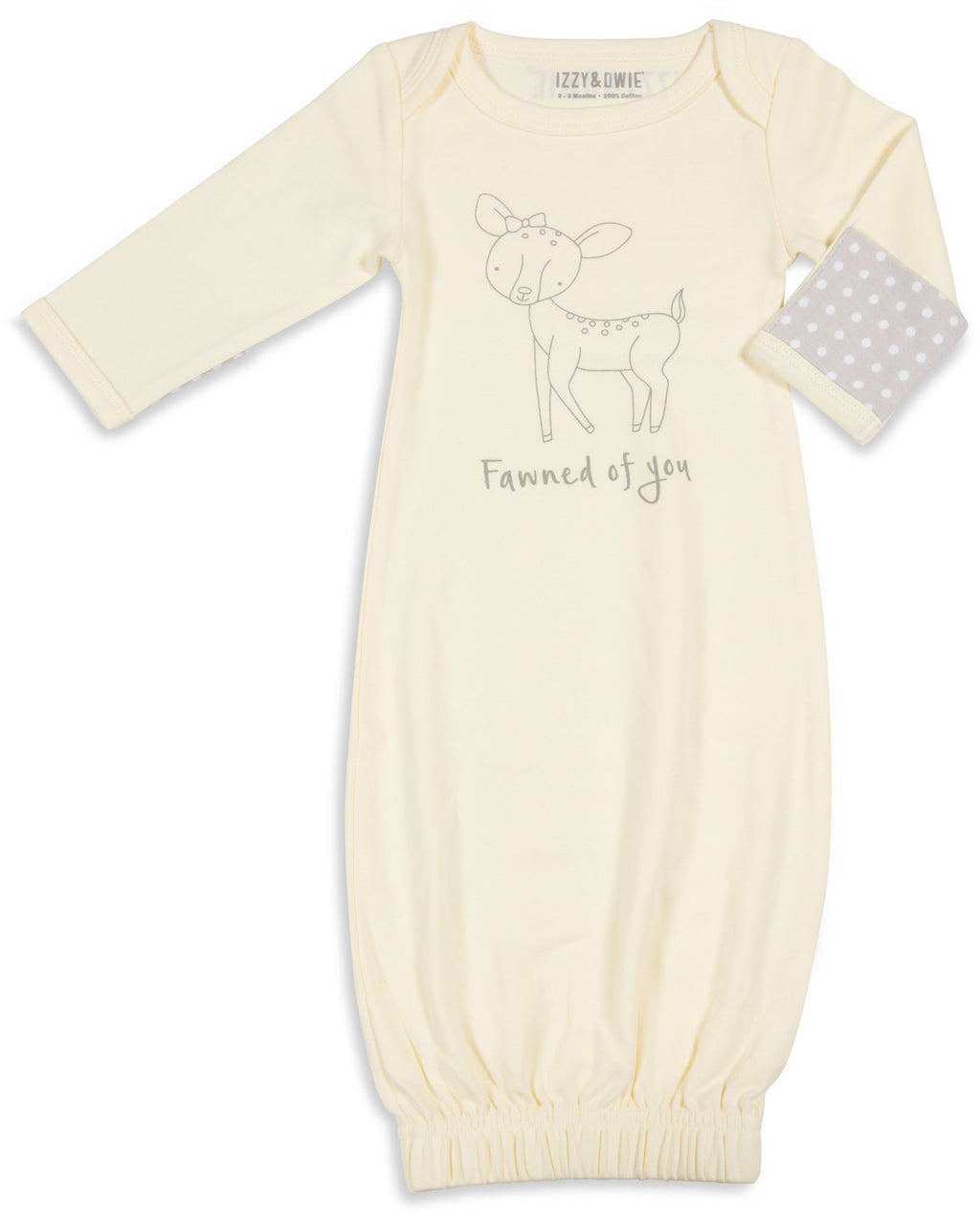 Fawned of you 0-3 Months Gown with Mitten Cuffs Baby Gown Izzy & Owie - GigglesGear.com