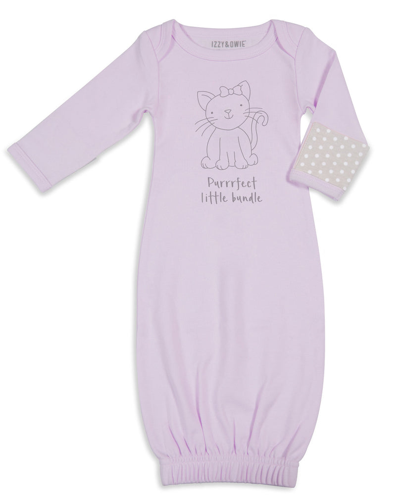 Soft Lavender Kitty Sleeping Gown with Mitten Cuffs 0-3M