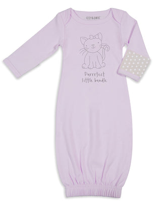 Soft Lavender Kitty Baby Sleeping Gown w/Mitten Cuffs