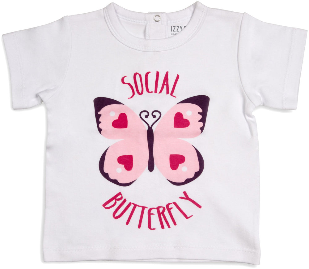Social Butterfly Hearts 12-24 Months White T-Shirt