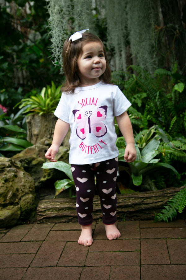 Social Butterfly Hearts 12-24 Months White T-Shirt Baby Shirt Izzy & Owie - GigglesGear.com