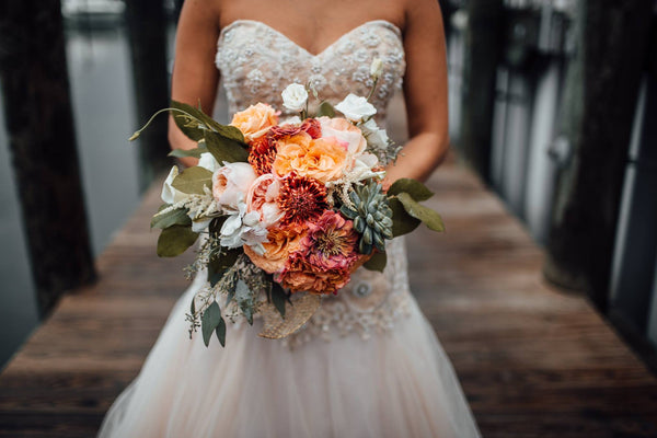little miss lovely floral design // coral white navy wedding bouquet with succulents // ocean city maryland wedding florist // the hursts photography