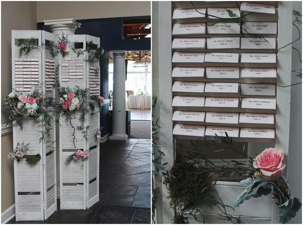 little miss lovely floral design // shutter place card display