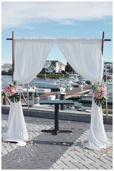little miss lovely floral design // squared curtain backdrop altar // ocean city maryland beach wedding rentals