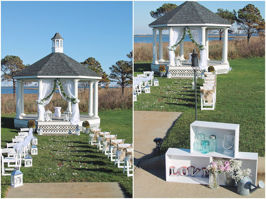 little miss lovely floral design // lighthouse sound wedding decorations for gazebo