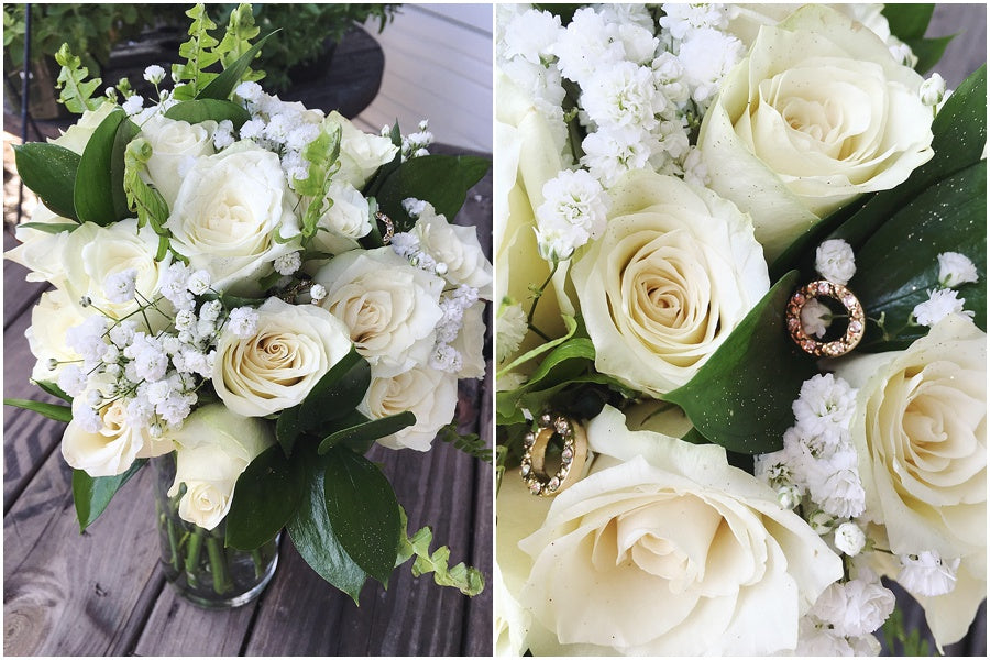 little miss lovely floral design // traditional rounded white rose babys breath greenery bouquet // ocean city maryland