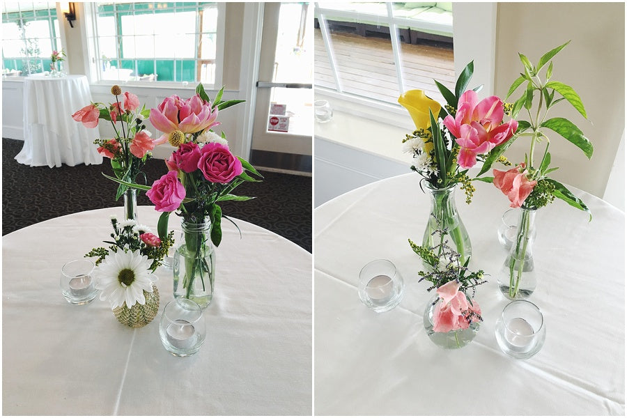 little miss lovely floral design // collection of bottles with garden flowers centerpiece // irish eyes wedding lewes de