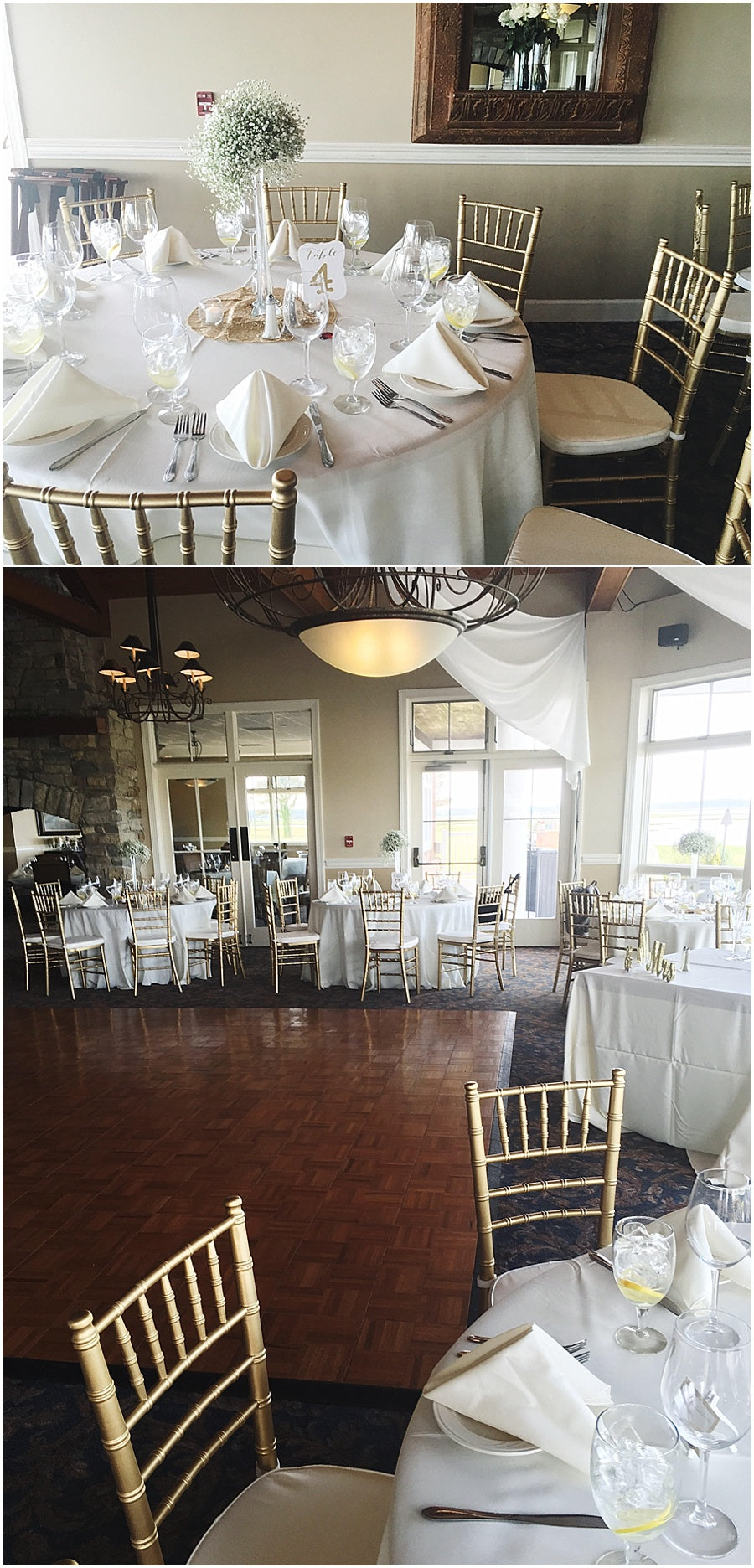 little miss lovely floral design // cascading babys breath eiffel tower wedding centerpieces // lighthouse sound ocean city maryland